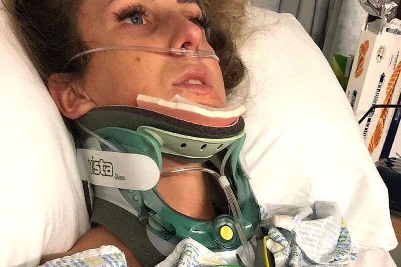Woman hit by falling sofa had metal plate fitted into her spine and can't work